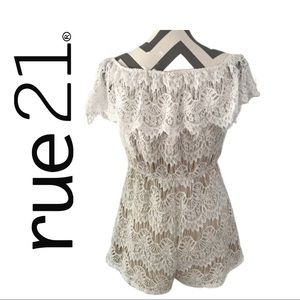 Rue 21 White Lace Off-Shoulder, Large, NWT
